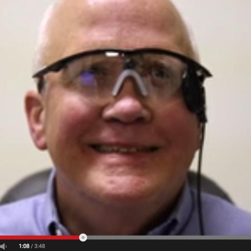 Image of video about a man wearing a vision stimulator