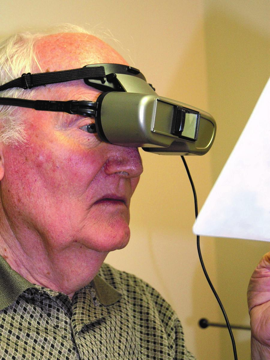 person using low vision device